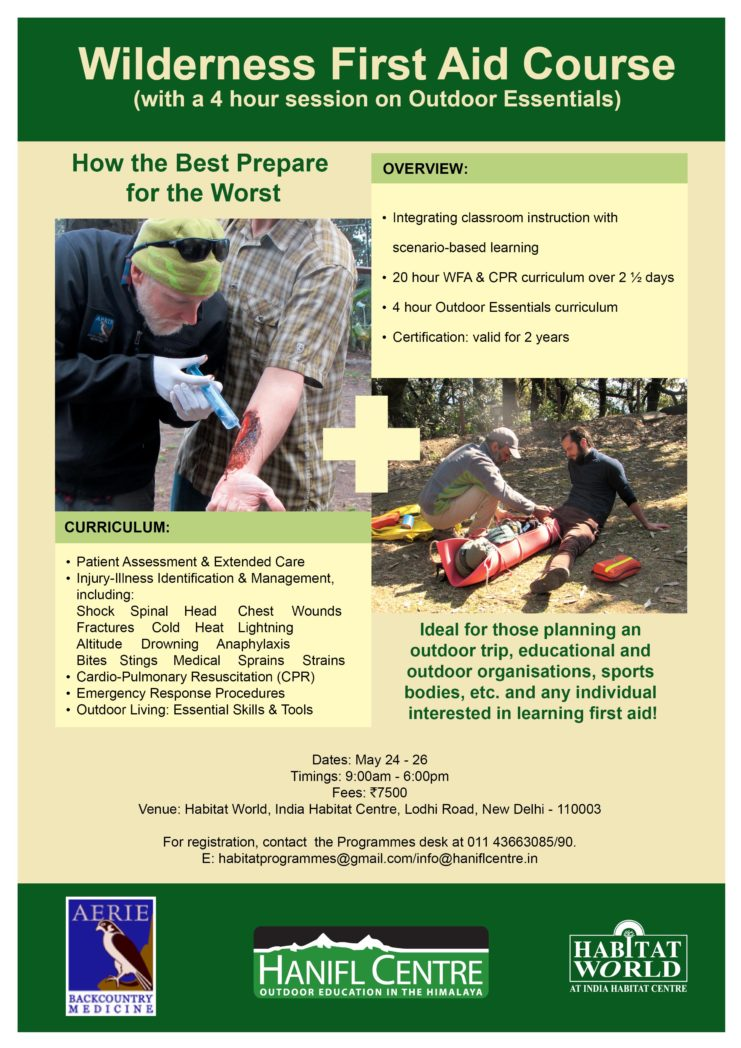 Wilderness First Aid Course – India Habitat Centre- May 24-26