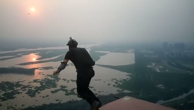 Satyendra Verma just performed India's highest BASE jump, from 600 feet above the ground