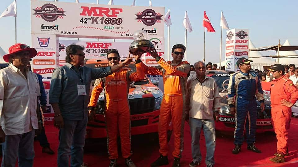 Amittrajit Ghose Wins The Coveted MRF 42nd K1000 RALLY 2016