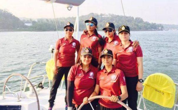 Six women in a boat